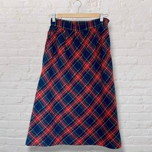 VTG Classic Plaid Tartan Midi Skirt Side Zipper